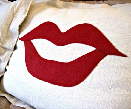 Movember mustache and lips pillow shams