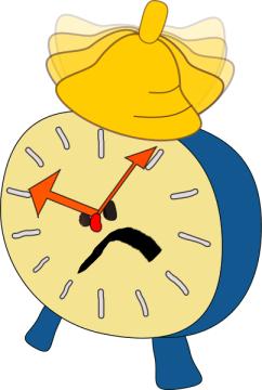 evil beeping alarm clock